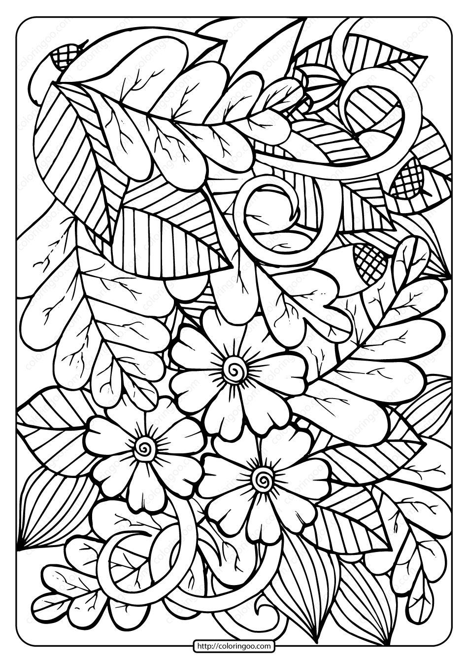 Printable Leaves And Acorns Coloring Page Fall Leaves Coloring Pages Abstract Coloring Pages Crayola Coloring Pages