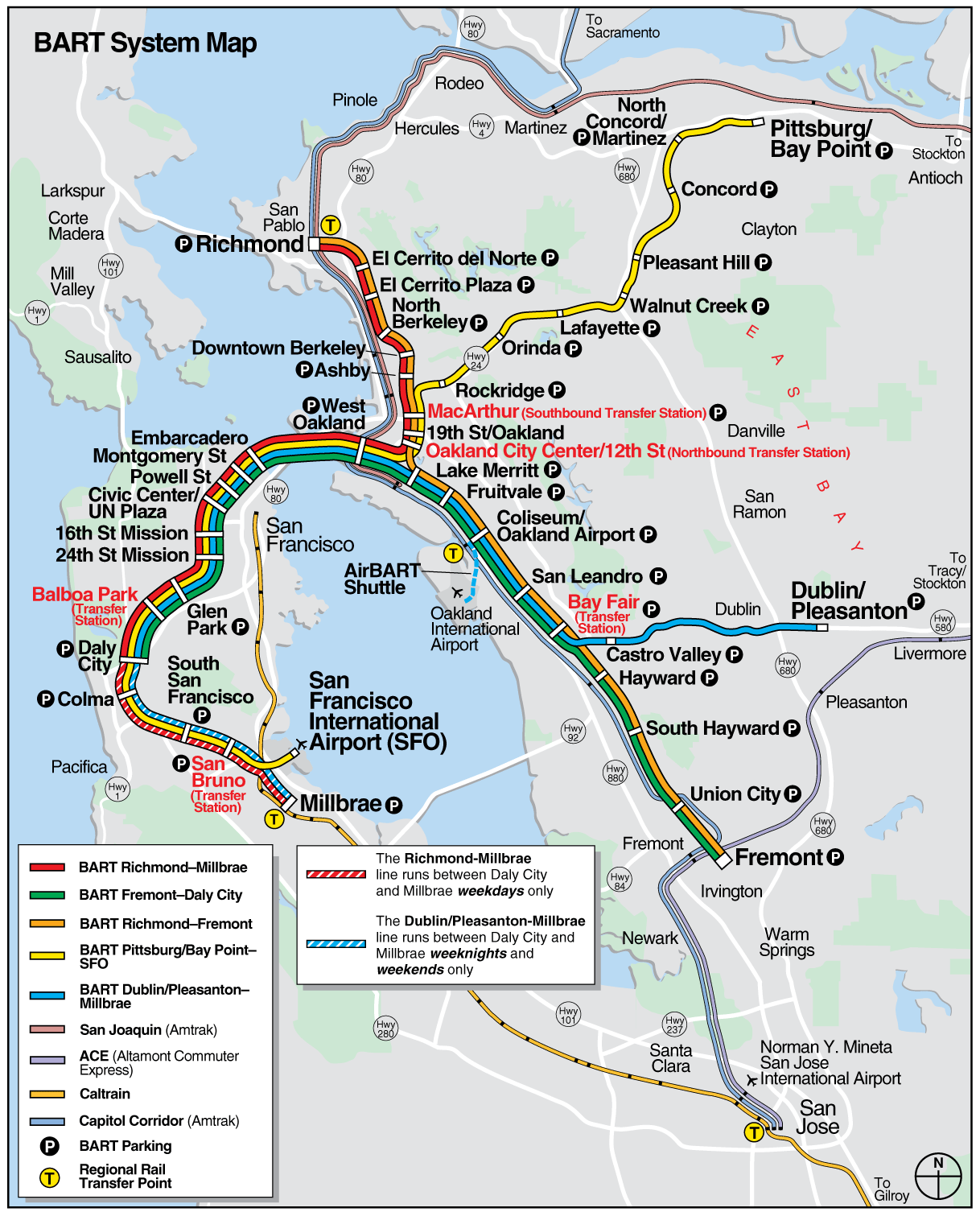 San Francisco Bart System Map railway Mapsofnet San Fran