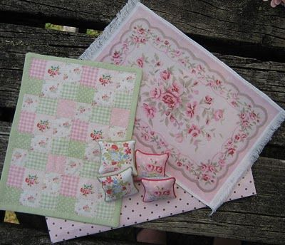 pink and green patchwork miniature quilt - gingham, dots, and flowers