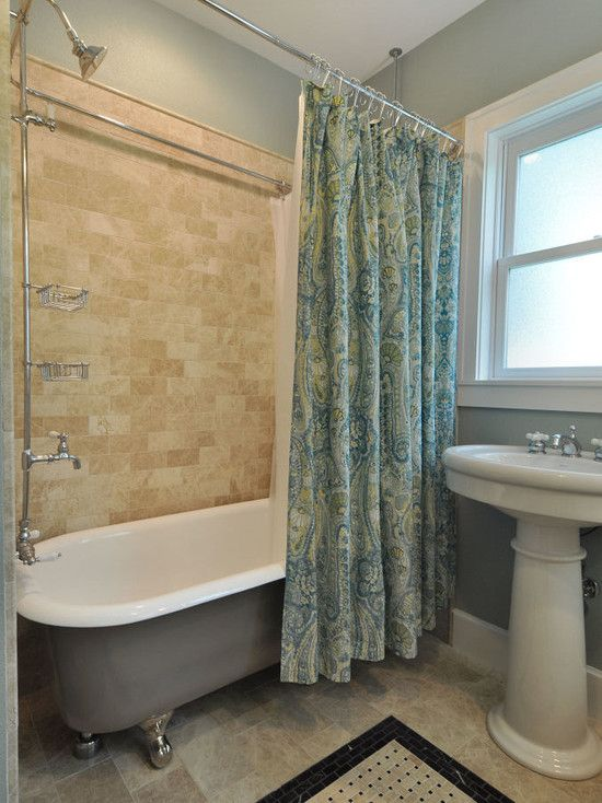 Interesting Painting Clawfoot Tub Shower Combo With Brown Ceramic Tiles Wall And White Sink