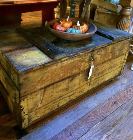 Primitive old wood trunk/coffee table on casters - The Bee ...