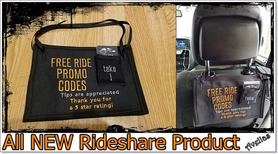 Rideshare FREE RIDES Card Holder Uber Lyft Taxi Tips Sign