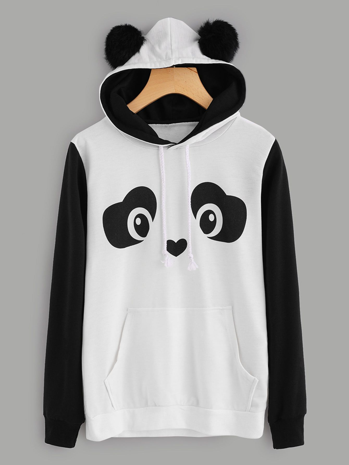 eb04da4e20b45 Panda Hoodie With Faux Fur Ball in 2019