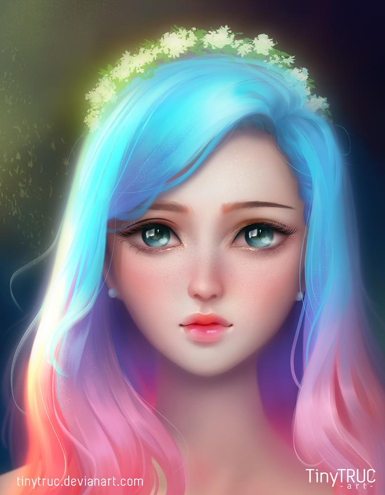 Rainbow Beauty By Tinytruc On Deviantart Digital Art Girl Anime Art Girly Art