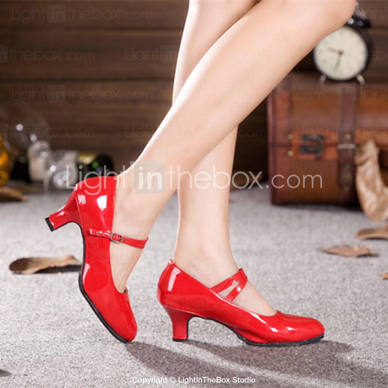 Negro zapatos dos colores PU cuero tacón zapatos de salón de baile de las mujeres zf2lh25Mpp
