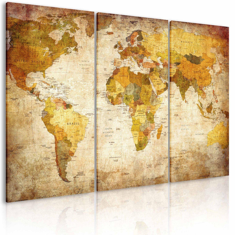 3 Teilige Weltkarte Weltkarte Leinwand Weltkarte Fotowand