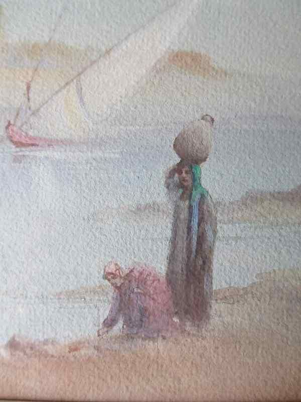 Arabian river scene with more detail of the figures. http://www.ranchiartandbooks.co.uk/ourshop/prod_2540680-Arabian-River-Scene-with-Figures-signed-R-Cooper-watercolour-c1900-SOLD-16102014.html