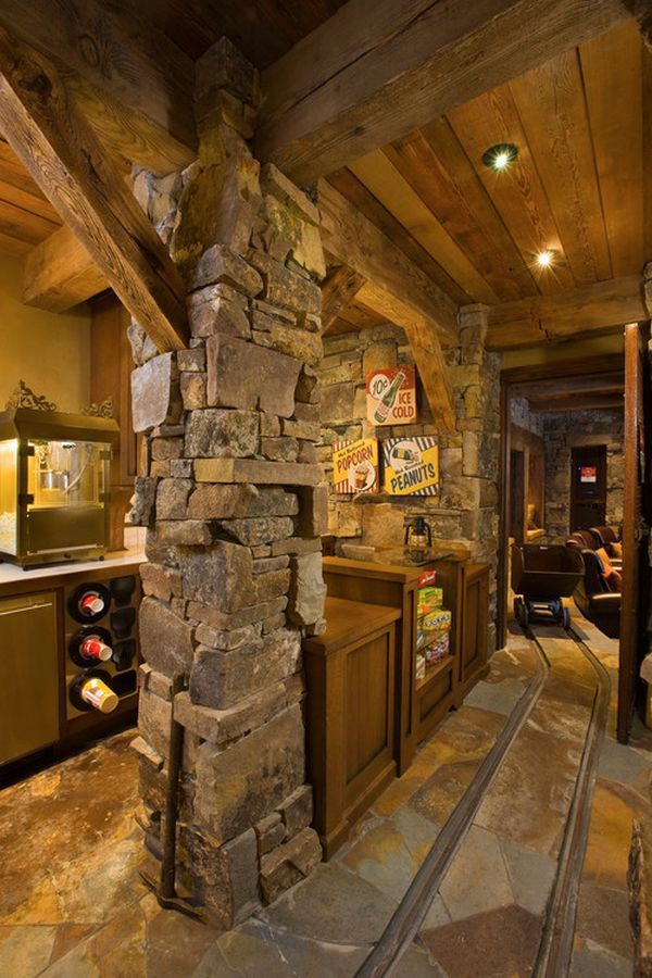Manly Man Corners From The Garage To The Movie Room Rustic Basement Timber House Rustic House