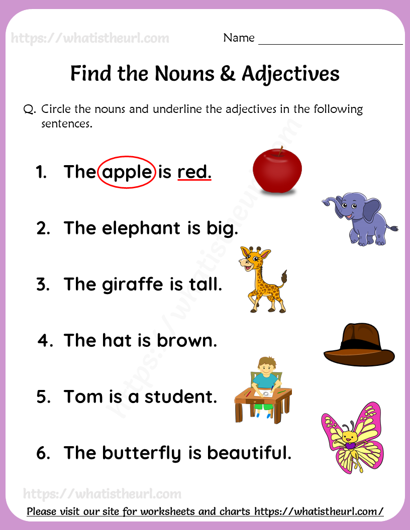 small resolution of Find the Nouns \u0026 Adjectives Worksheets For Grade 1 in 2021   Nouns and  adjectives