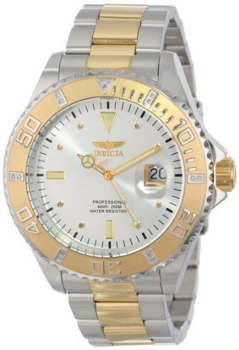 """Invicta Men's 15285 """"Pro Diver"""" Silver Dial Two Tone Stainless ..."""