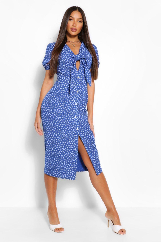 Tall Woven Ditsy Floral Print Knot Front Midi Dress Boohoo In 2021 Clothing For Tall Women Blue Midi Dress Midi Dress [ 1500 x 1000 Pixel ]