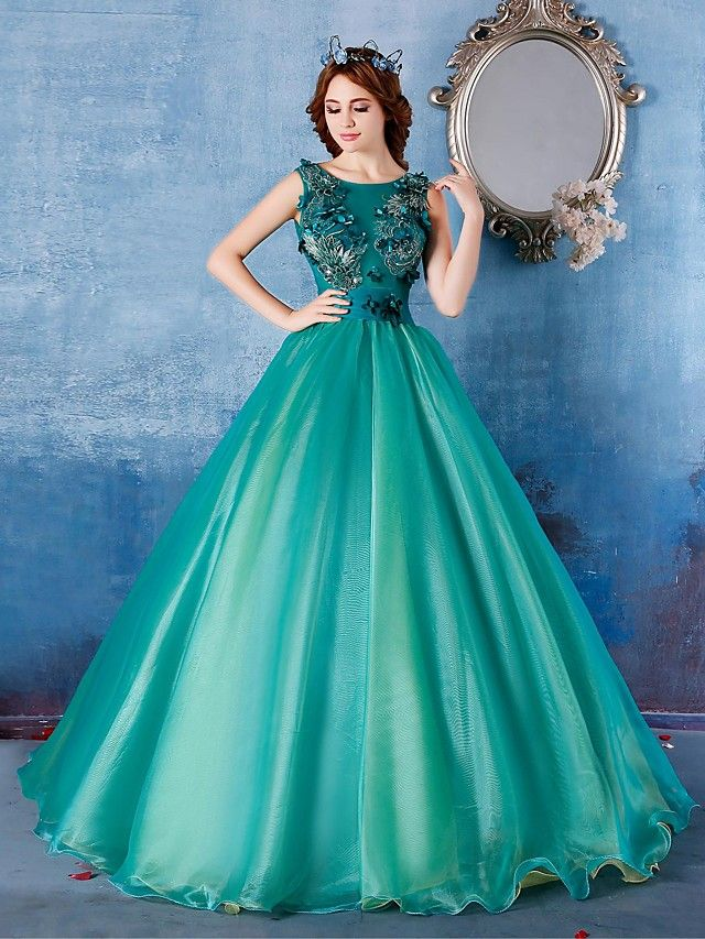 Formal Evening Dress Ball Gown Scoop Floor Length Satin Tulle