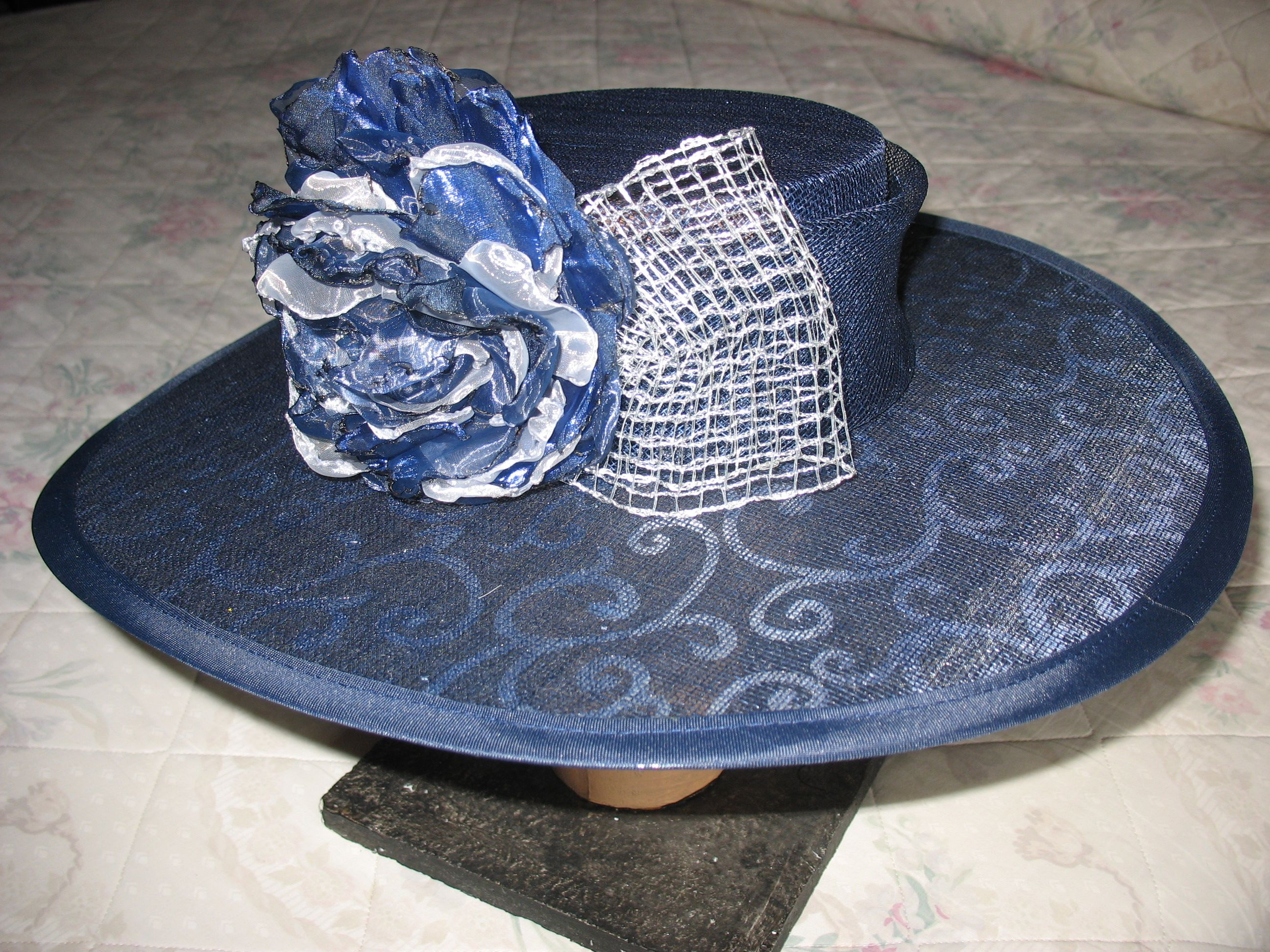 NAVY WITH SILVER INLAY