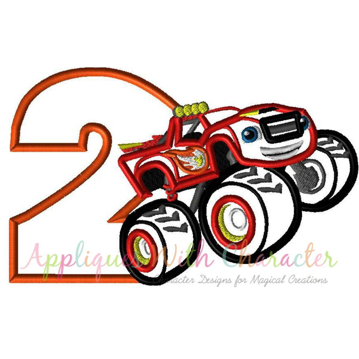 Blaze two applique design truck embroidery
