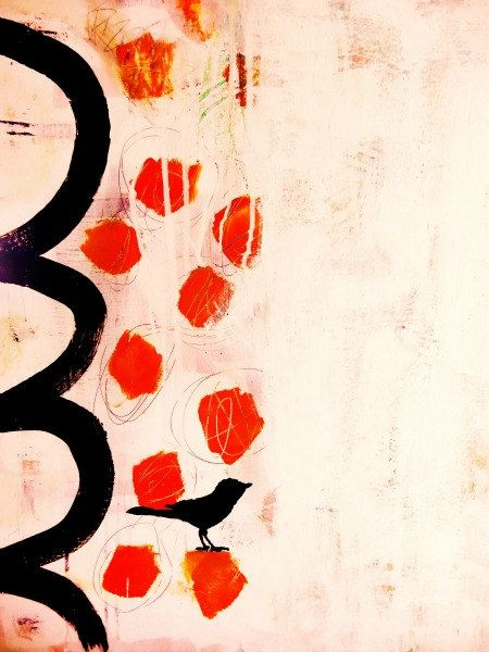 Abstract, bright, orange, black, bird, painting, print, colorful, bold, art, modern, mod, retro on Etsy, $20.00