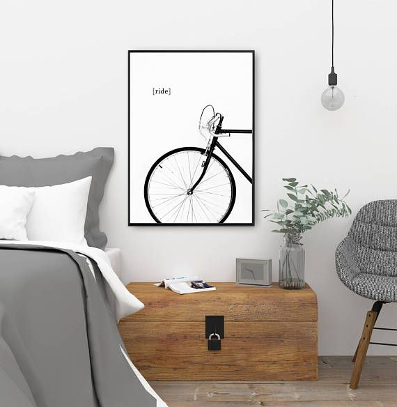 Bike print, bicycle poster, cycling wall art, minimal wall decor ...
