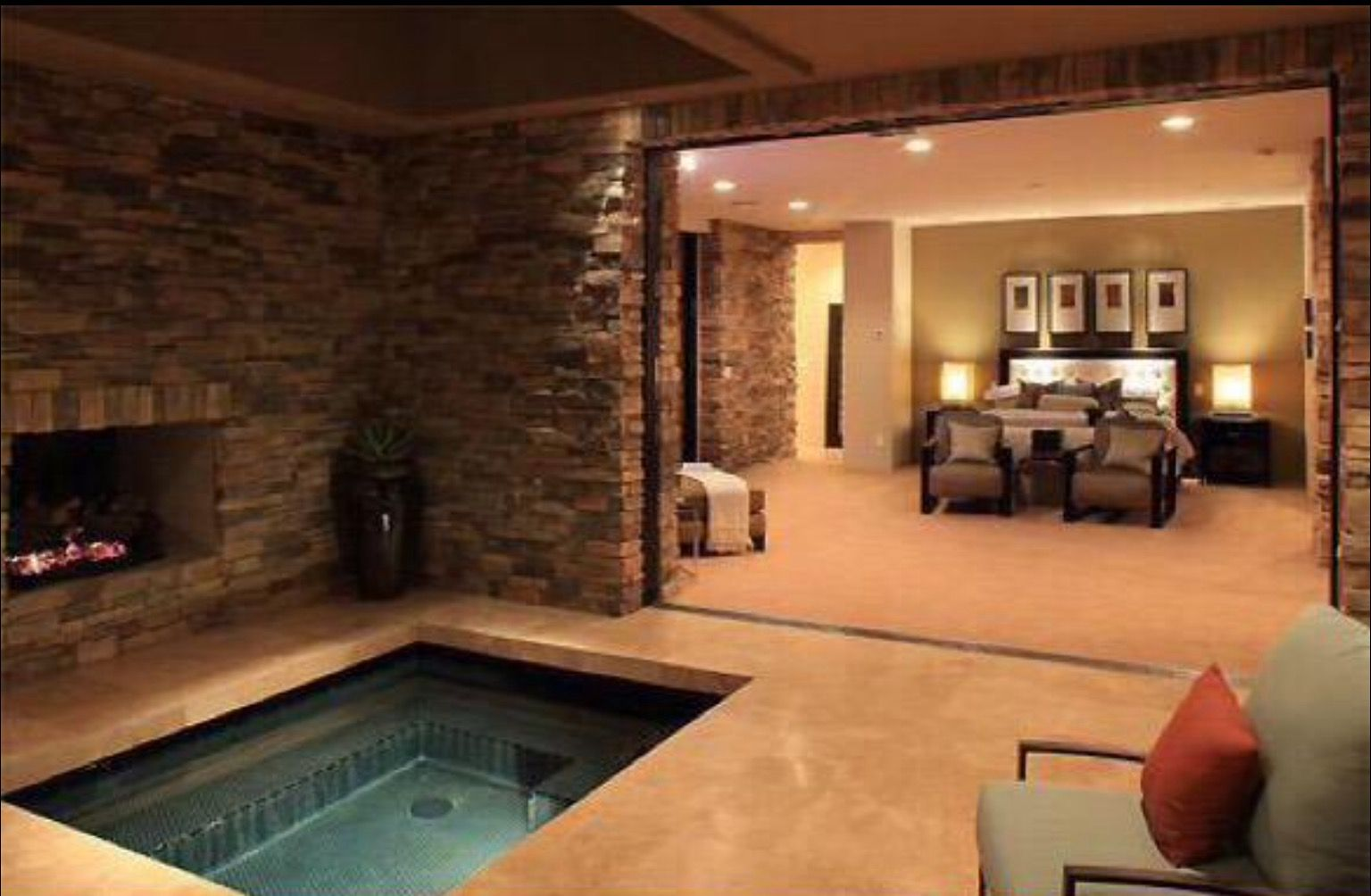 Master bedroom jacuzzi designs  Master bedroom with hot tub and fireplace  home  Pinterest  Hot