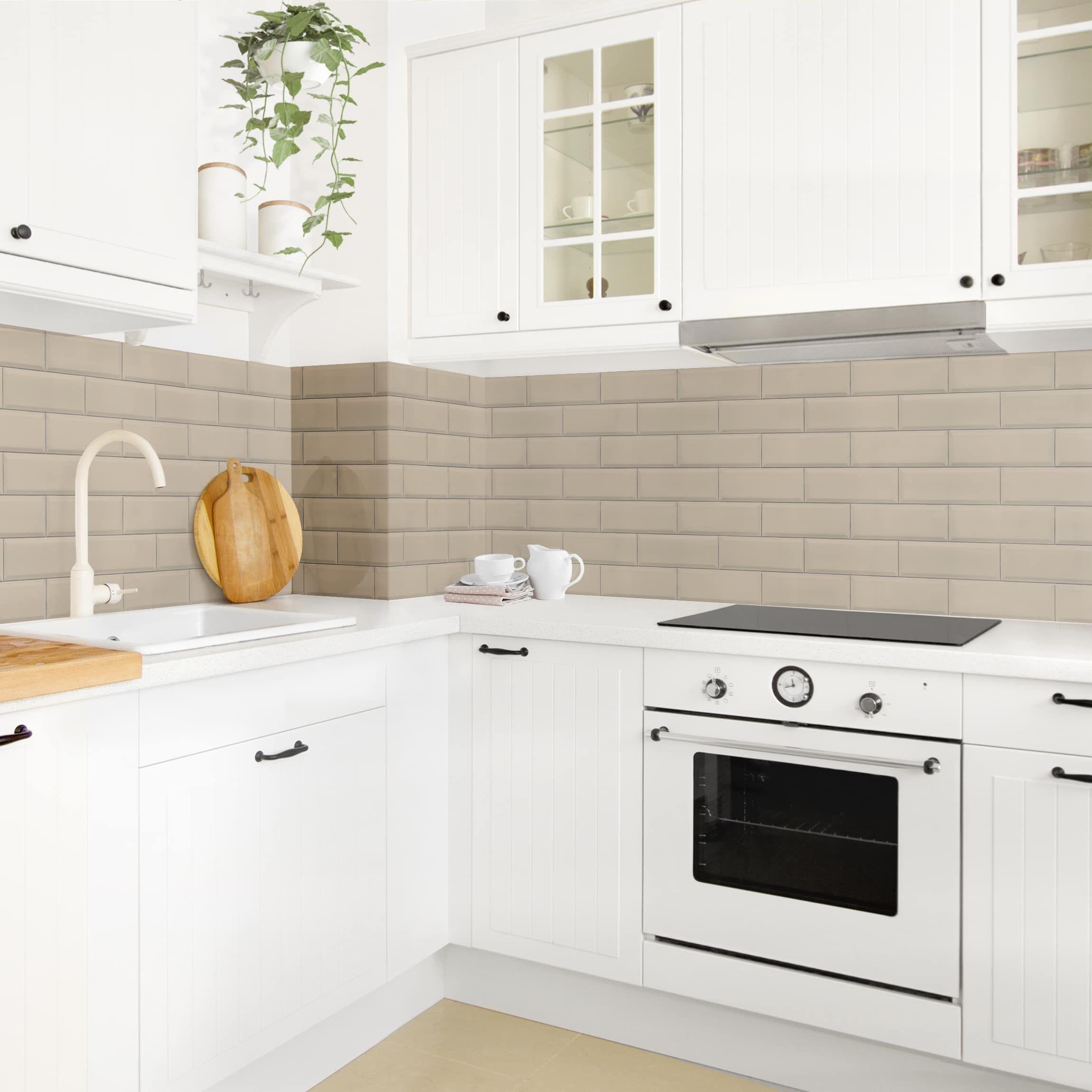 Coprire Piastrelle Cucina Con Pannelli rivestimento cucina - mattonelle in ceramica taupe (con