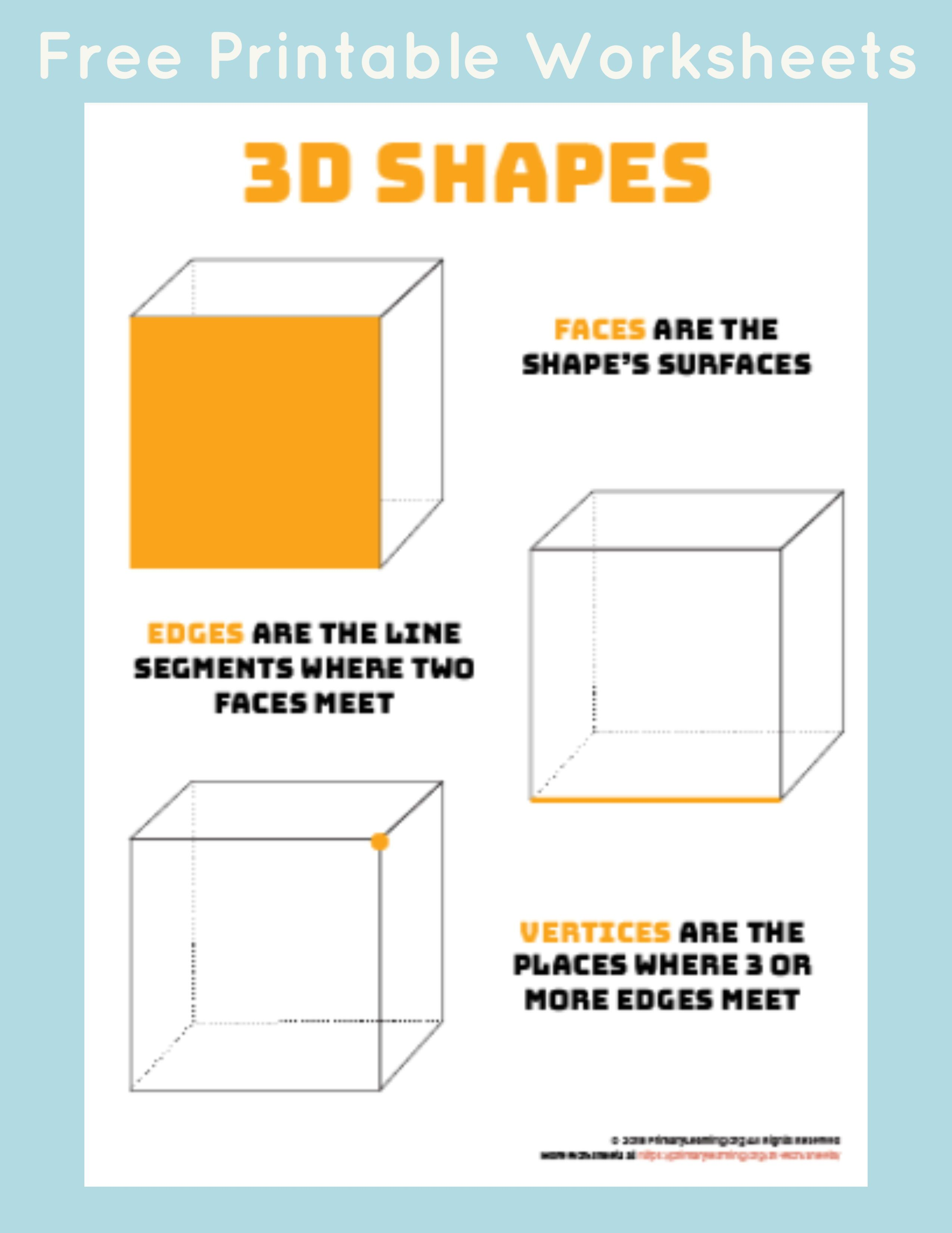 Parts Of 3d Shapes Math Worksheets