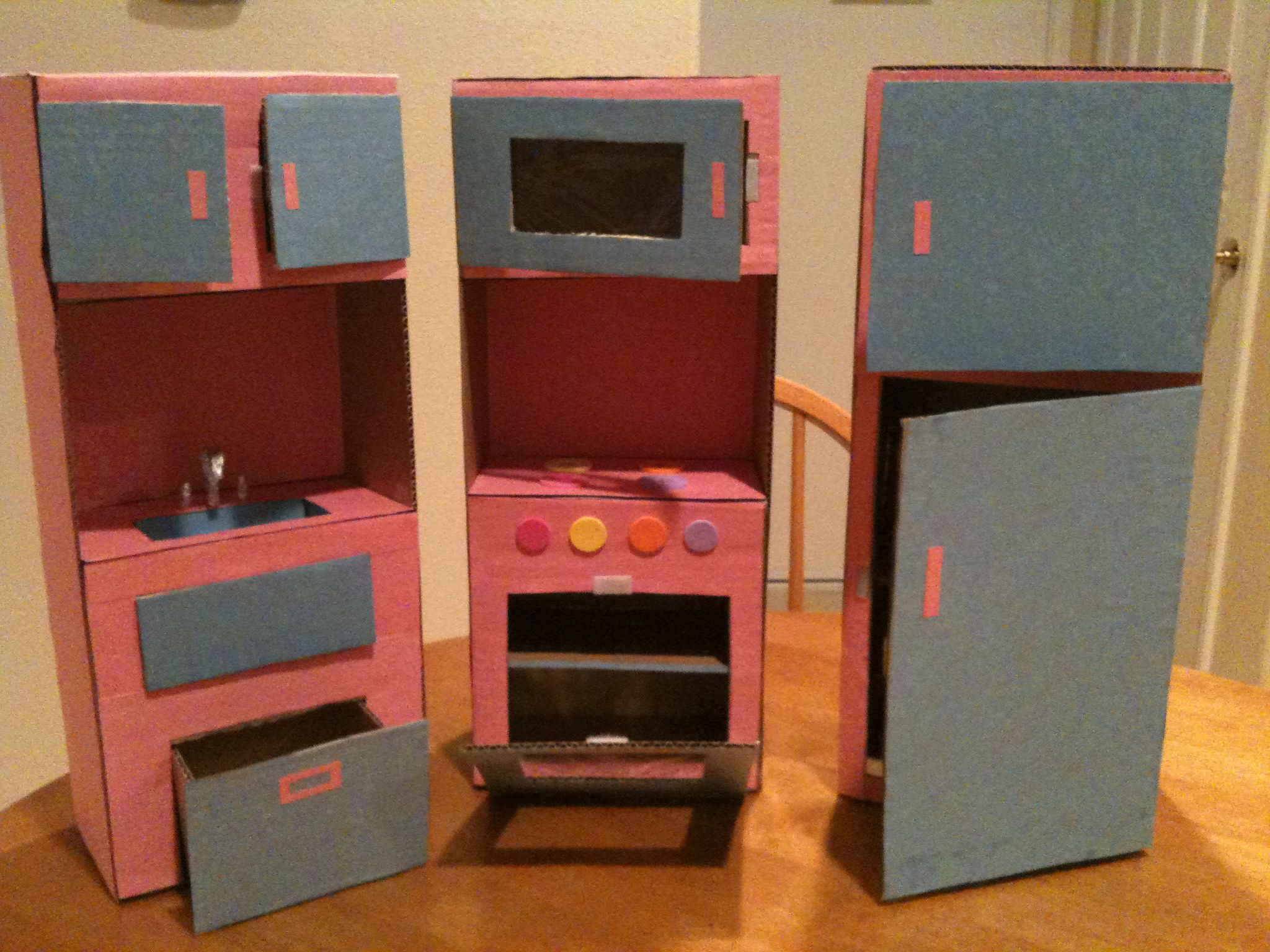 American girl doll kitchen from cardboard and construction