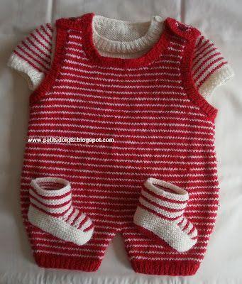 Ensemble barboteuse, pull et chaussons en 6 mois de http://petitsdoigts.blogspot.fr