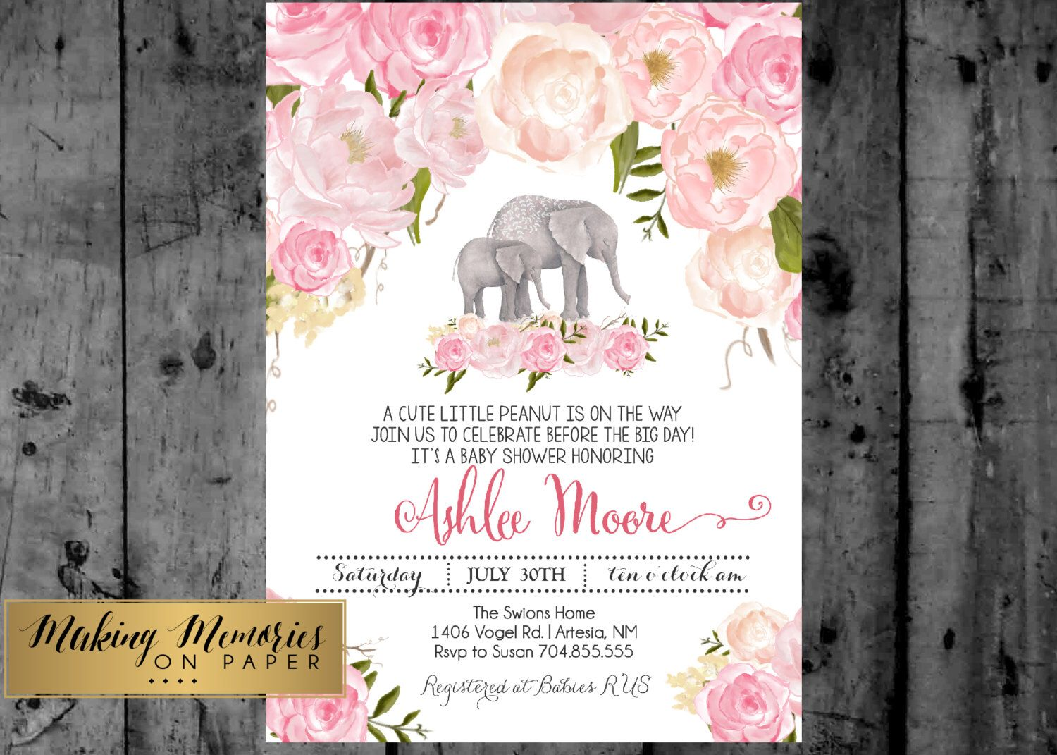 Artesia invitation lyrics choice image invitation sample and pink elephant floral baby shower invitation watercolor flowers pink elephant floral baby shower invitation watercolor flowers stopboris Gallery