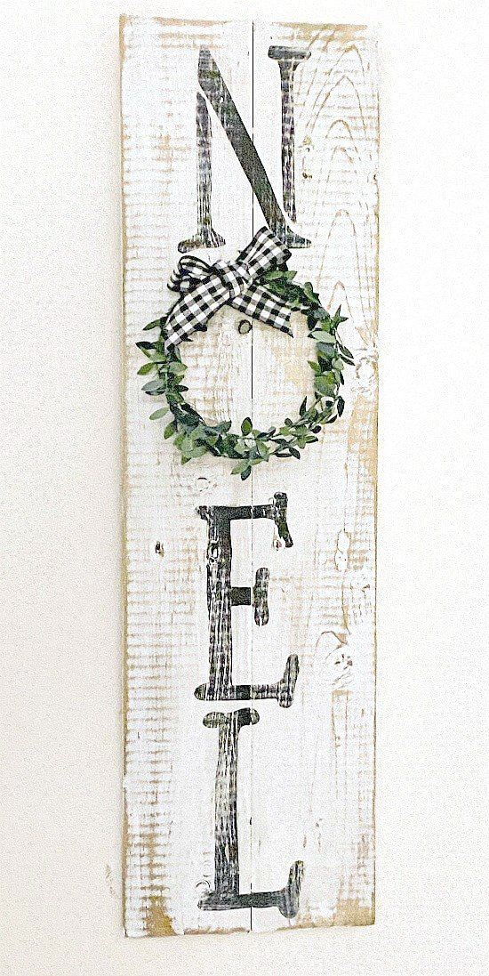 Rustic Christmas Sign Made with Reclaimed Wood
