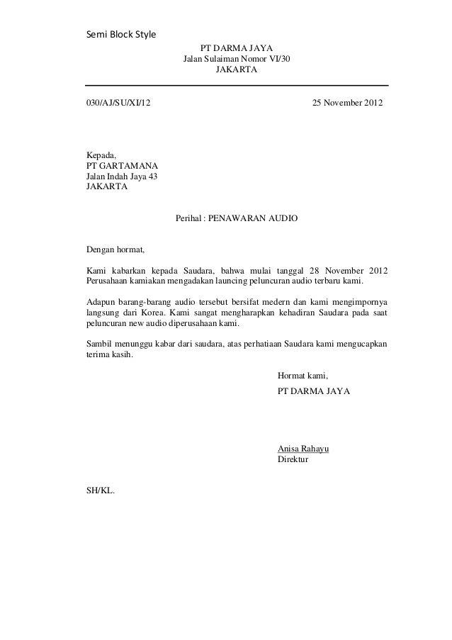 Contoh Surat Bahasa Inggris Semi Block Style Surat Gagasan Bahasa