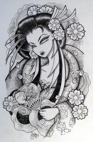 Geisha Pin Up Tattoo Designs Japanese Tattoos Especially Geisha