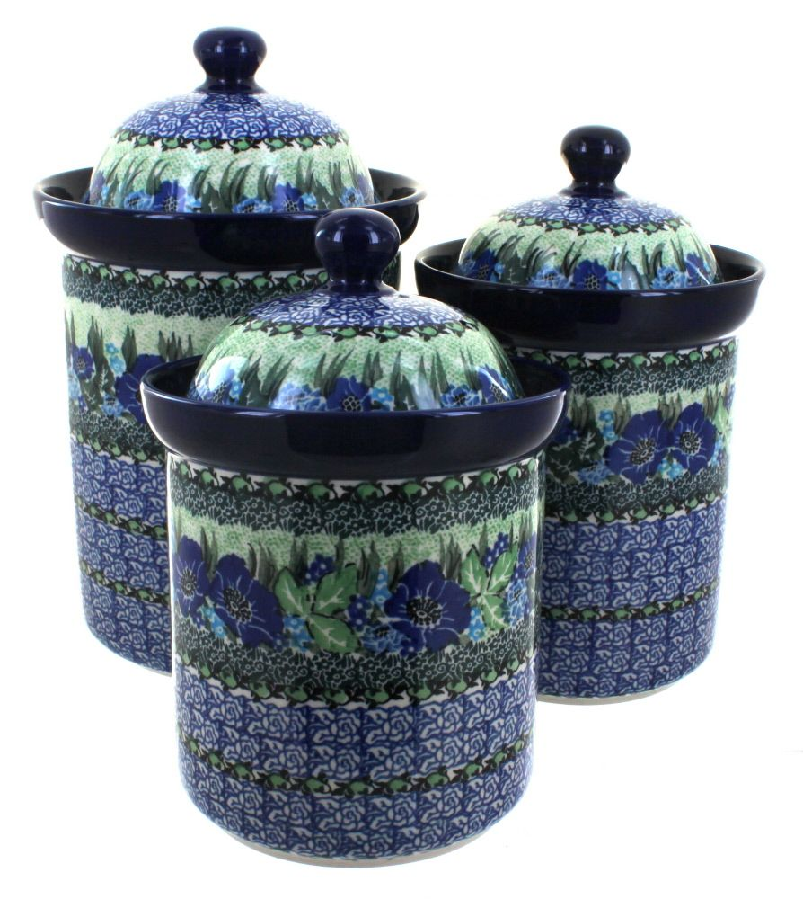 sapphire fields 3 piece canister set blue rose polish pottery sapphire fields 3 piece canister set blue rose polish pottery