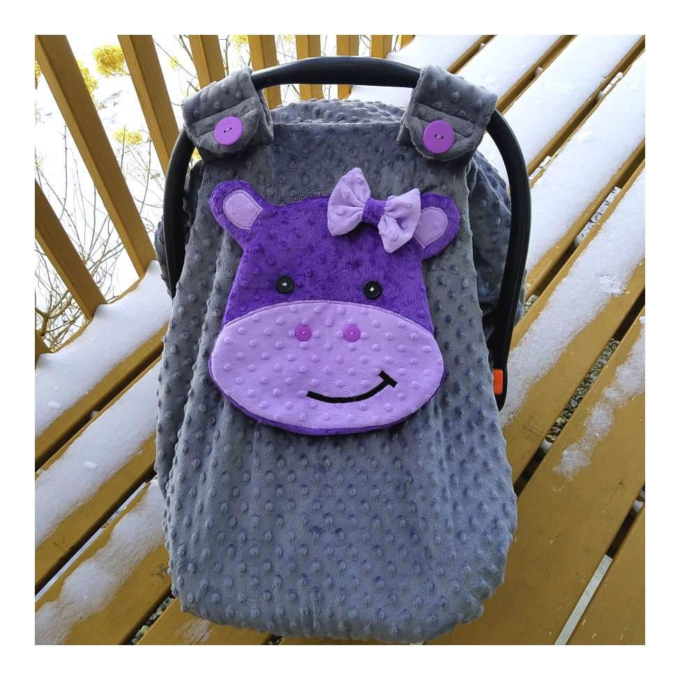 Hippo Fitted Car Seat Canopy With Peek A Boo Opening Purple Lavender