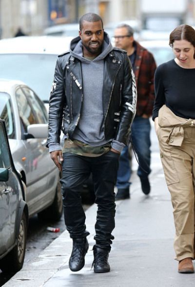 Kanye West Wearing Black Leather Biker Jacket Grey Hoodie Olive Camouflage Crew Neck T Shirt Black Jeans Mens Fashion Edgy Hipster Mens Fashion Mens Fashion Casual
