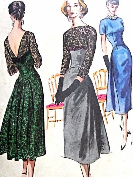 1950s Glam Party Cocktail Evening Dress Pattern Mccalls 3862 Bateau Neckline V Vintage Dress Patterns Evening Dress Patterns Gown Pattern