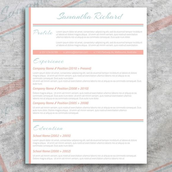 Pastel Cv  Cover Letter By Graphicsauthor  Resume Cv Templates