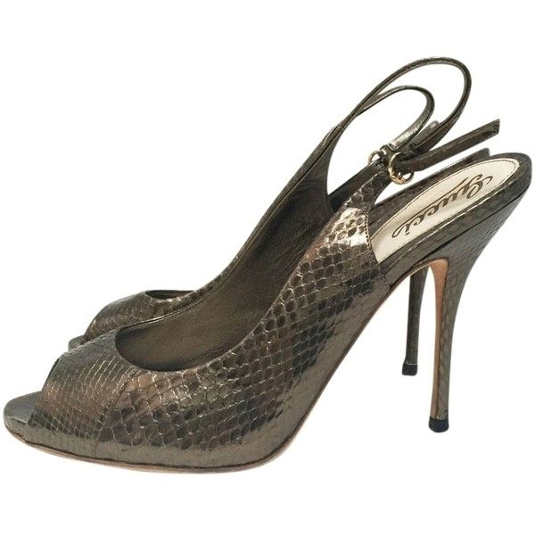 69303f4bb4 Pre-owned Gucci Python Leather Slingback Open Toe Heels Bronze Metallic Bron