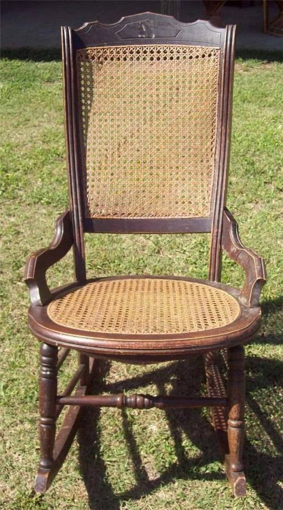 rocking chair cane hanging top view vintage walnut wooden seat back older nice condition unknown