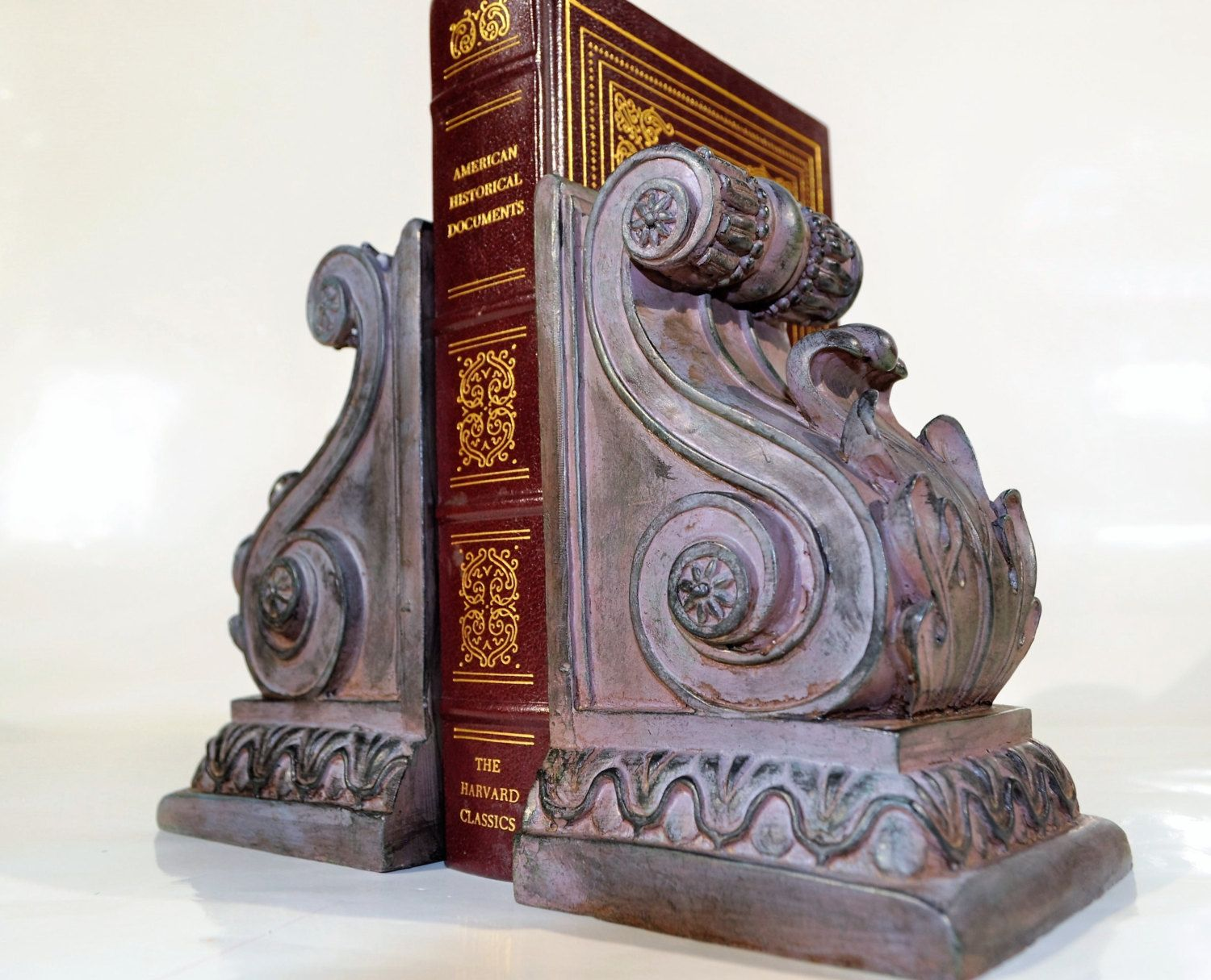 Victorian Bookends/ Office Decor / Library Decor/ Traditional Home Deco  /shabby Home And Living,Home Decor Bookends/Burgundy Black Bookends By  Decor4home2 ...
