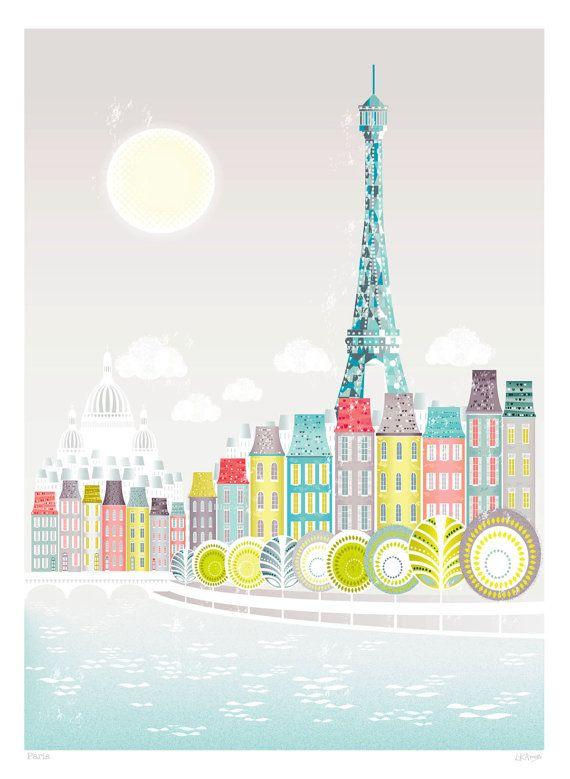 Paris Eiffelturm, A4 Papier Kunstdrucke, Seine Brücke, Stadt - kunst fürs wohnzimmer