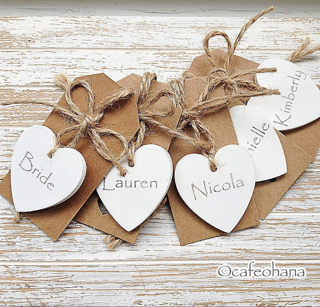 Personalised Wedding Name Cards Place Cards with Wooden Hearts white ivory craft