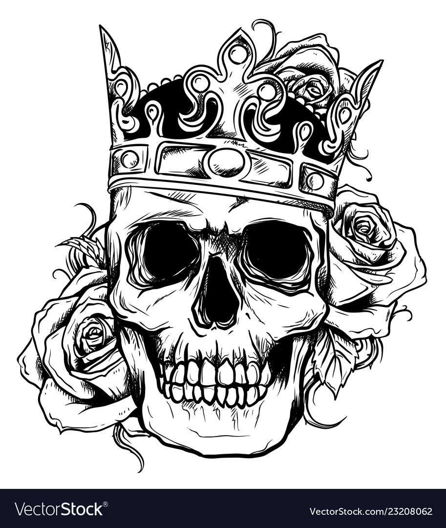 Illustration Human Death Skull In Crown With Roses Download A Free Preview Or High Quality Adobe Illustrat Skulls Drawing Skull Artwork Tattoo Design Drawings