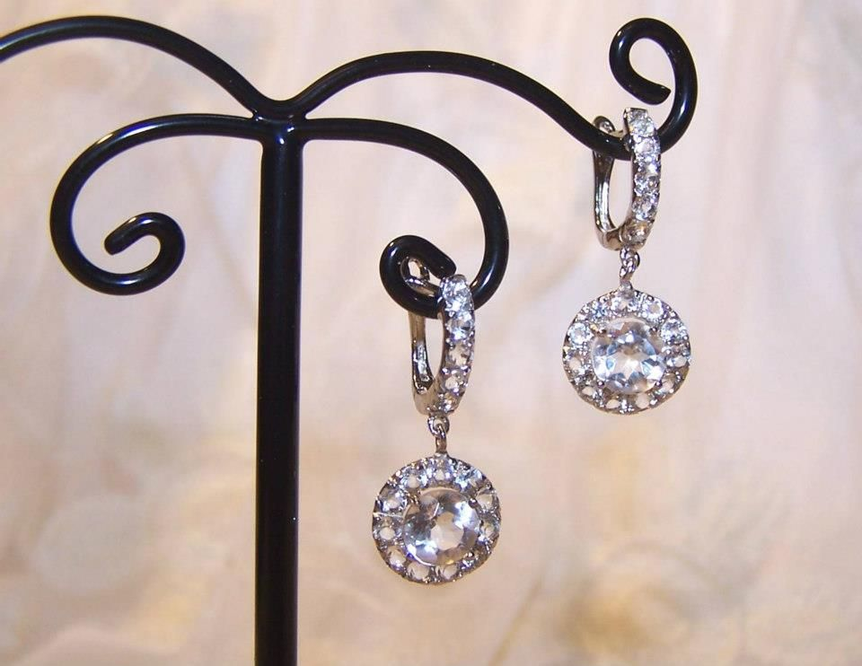 """White Sapphire Drop Earrings set in sterling silver, delicate and elegant, just about a 1"""" drop."""