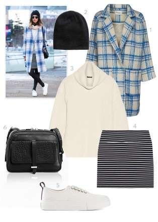 1. Manteau en laine et mohair à carreaux bleus, Ganni, 116,71 €.2. Bonnet en maille double épaisseur... - Fournis par Glamour Paris