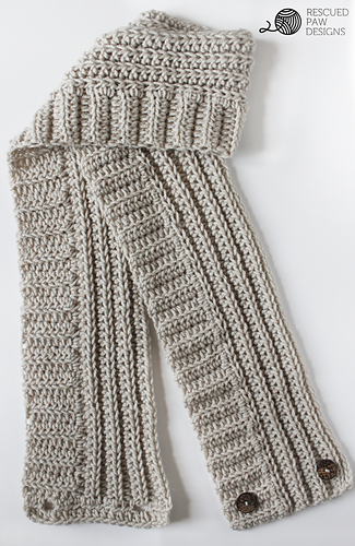 Andy Button Scarf || Free Crochet Pattern designed by Krista Cagle for Rescued Paw Designs