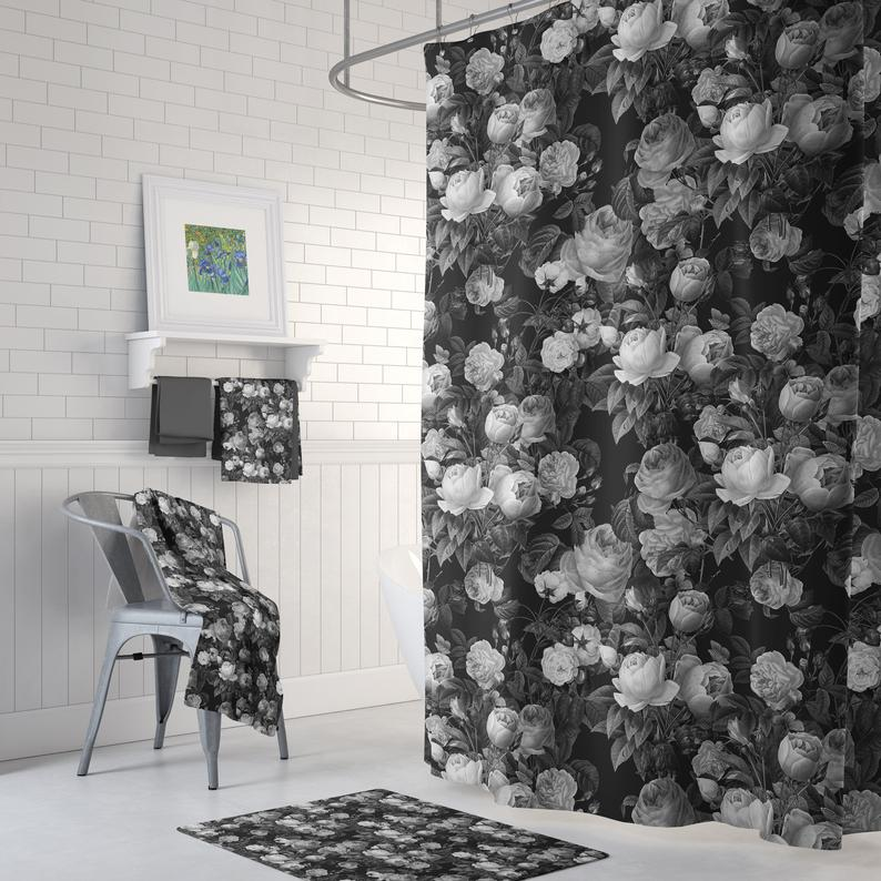 Black And White Floral Shower Curtain Set Deep Dark Floral Cabbage Roses Elegant Bathroom Floral Shower Curtains Shower Curtain Sets Bath Mat Design