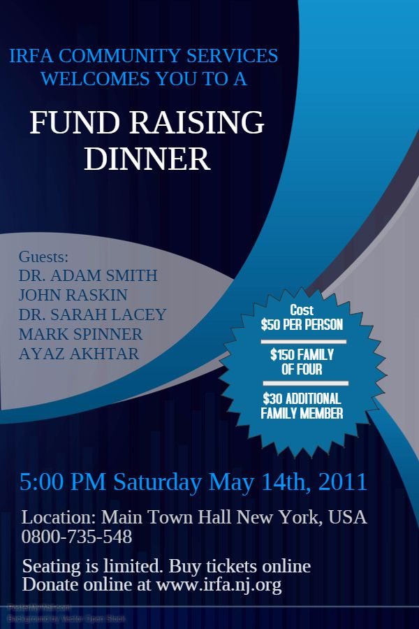fundraising dinner event flyer poster social media template