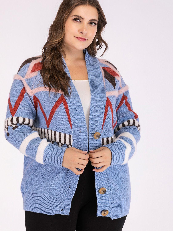 Plus Size Geometric Pattern Button Front Knit Cardigan