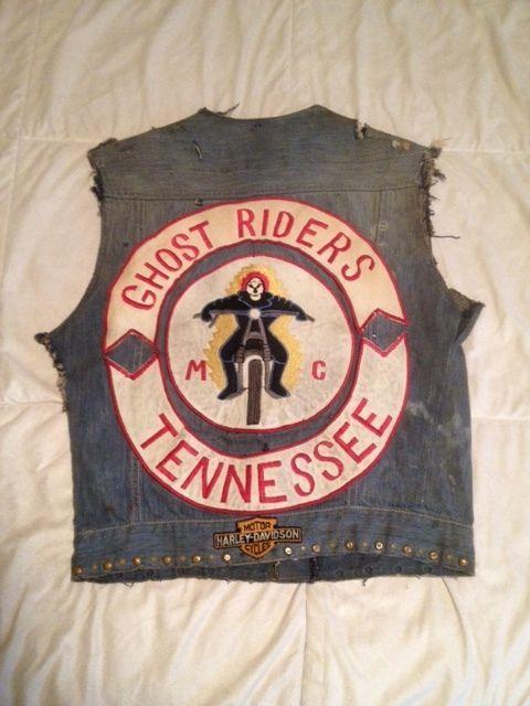 Vintage Motorcycle Club Vest Ghost Riders 2 Motorcycle Clubs Bike Gang Biker Clubs