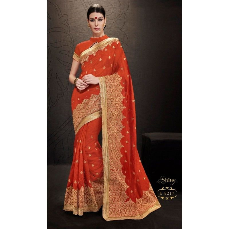 Designer Orange & Golden Printed Raw Silk Saree -  RKRGSE8217 ( FH-RKRGSE8201 )