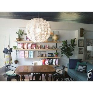 gather coworking pop up shop in downtown cary nc ikea pendant wooden shelving fiddle leaf. Black Bedroom Furniture Sets. Home Design Ideas