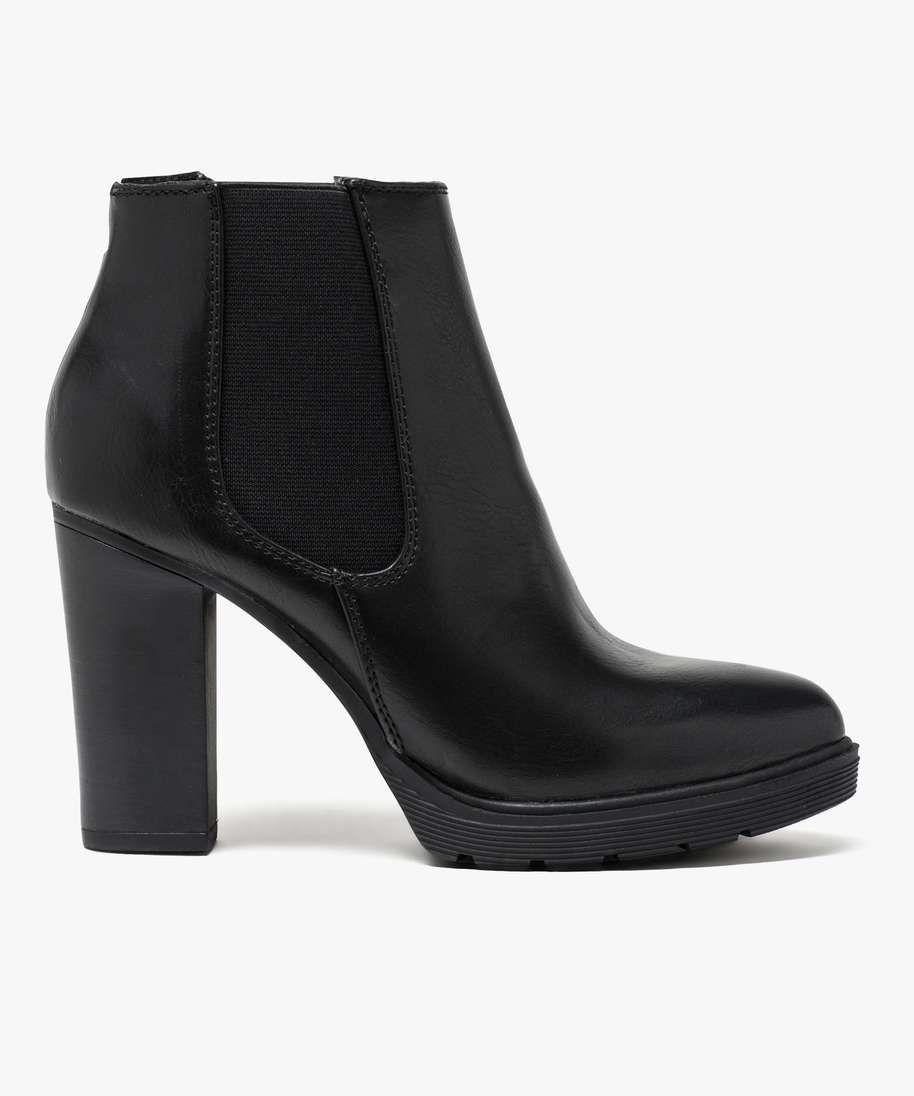 boots noires à talon haut pour femme. fermeture à zip et talon